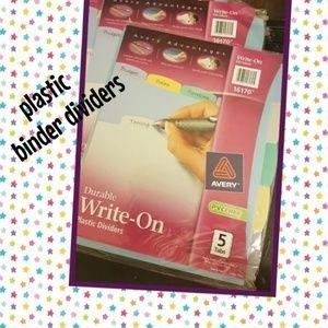 3x Avery 8- tab Plastic Binder Dividers big tabs NWT